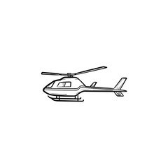 Helicopter hand drawn outline doodle icon. Aviation transport, tourism and journey, aircraft concept. Vector sketch illustration for print, web, mobile and infographics on white background.