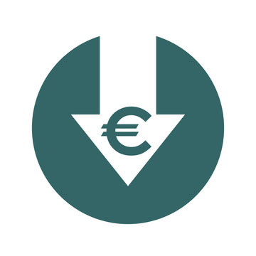 Cost reduction- decrease icon. Vector symbol image isolated on background
