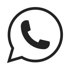 Telephone icon symbol,  vector, whatsapp logo symbol. Phone pictogram, flat vector sign isolated on white background
