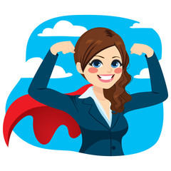 Beautiful young super powerful business woman showing her strong muscles empowerment concept