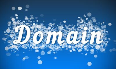 Domain - white text written on blue bokeh effect background
