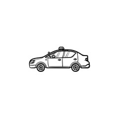 Police car with siren side view hand drawn outline doodle icon. Police patrol, crime security and law concept. Vector sketch illustration for print, web, mobile and infographics on white background.