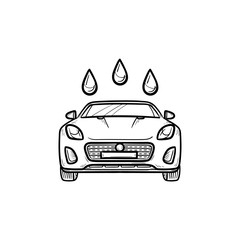 Car wash hand drawn outline doodle icon. Car shower and auto service, clean and fresh vehicle concept. Vector sketch illustration for print, web, mobile and infographics on white background.