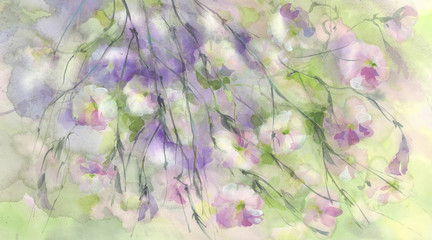 Rose meadow flowers in the wind watercolor background