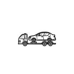 Tow truck with broken car hand drawn outline doodle icon. Roadside assistance, car transportation concept. Vector sketch illustration for print, web, mobile and infographics on white background.