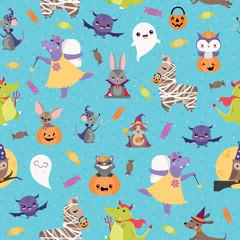 Vector Blue Halloween Friends Seamless Pattern Background