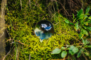 Crystal magic ball on a green fairy moss. Glass ball in the forest. background blur
