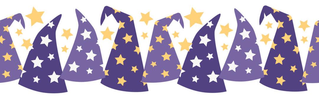 Vector Magical Starry Wizard Hats Seamless Border