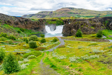 View of Hjalparfoss Waterfalls and the flowers field