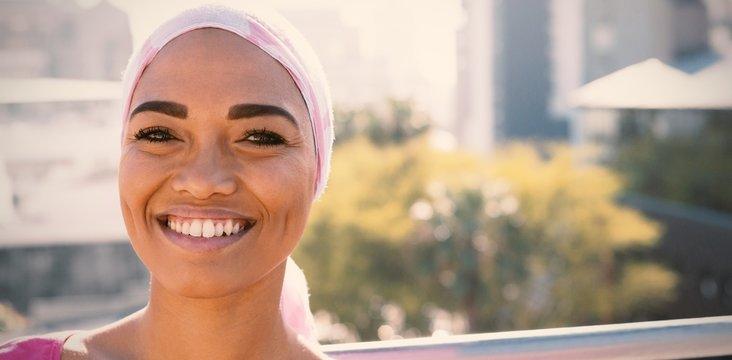 Smiling women wearing mantra scarf