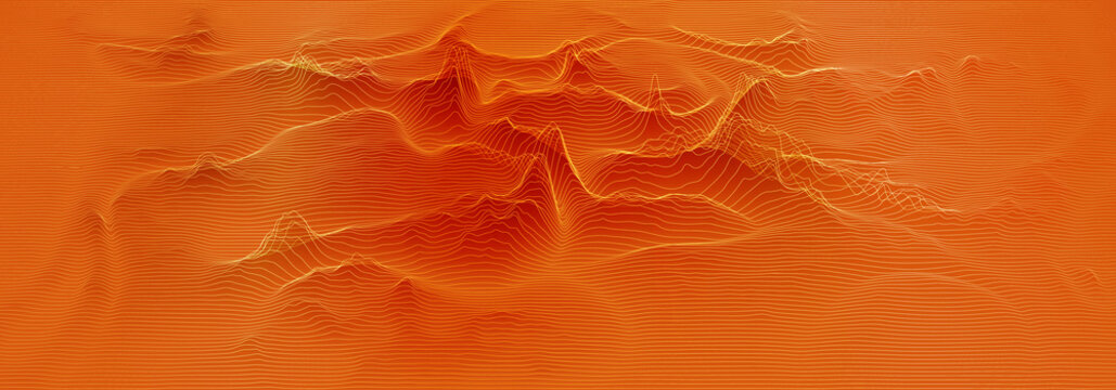 Vector 3d echo audio wavefrom spectrum. Music waves oscillation graph futuristic visualization. Orange line impulse pattern. Or Abstract relief map. Landscape elevation concept.