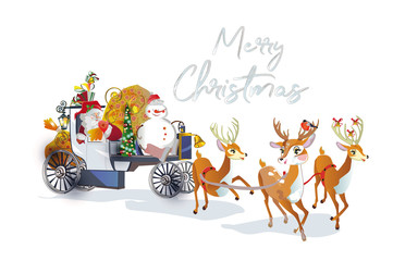 Christmas card with Santa Claus in the carriage with cute deers. Cartoon style.