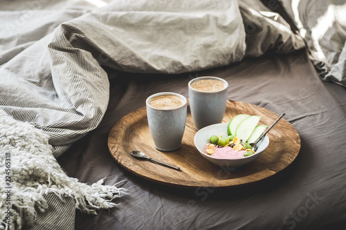 Healthy Winter Breakfast In Bed Coffee Natural Berry Yogurt With Cereals Gs