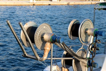 Fishing boat capstan details in the Aegean sea.