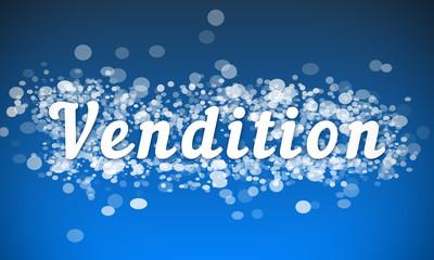 Vendition - white text written on blue bokeh effect background