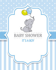 baby shower boy. Cute elephant with balloons. space for text