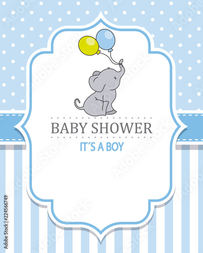 Baby Shower Boy Cute Elephant With Balloons Space For Text Stock