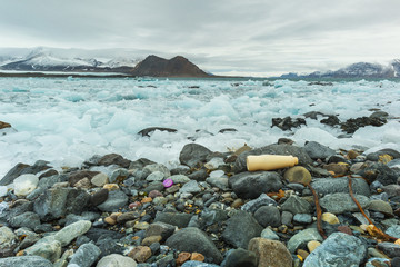 Plastic pollution on Arctic coast.
