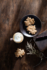 Maple Leaf Cookies with Cappuccino