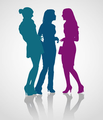 Detailed silhouettes of young adult women on meeting