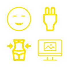 woman icons set with plug, amused face of happy emoticon and liposuction vector set