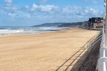 French landscape - Normandie. The promenade and beach of a small town in Northern France.