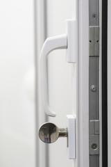 open door with the lock close up