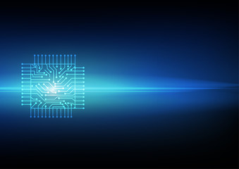 Vector : Electronic circuit on blue background