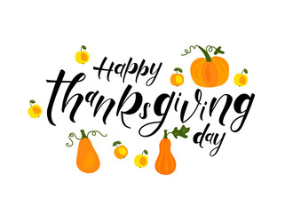 Happy Thanksgiving Day - hand lettering, typography vector design for greeting cards, poster, icon, banner
