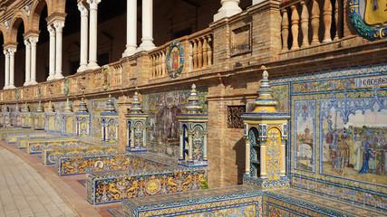 Die Plaza de España ist einer der bekanntesten Plätze in Sevilla, Spanien.