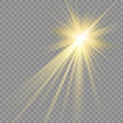 Vector light sources, concert lighting, spotlights set. Concert spotlight with beam, illuminated spotlights for web design illustration.