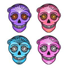 Set Calavera sign Dia de los muertos. Mexican Day of the dead. Vector hand darwing illustration woman and man sticker