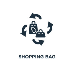 Shopping bag icon. Black filled vector illustration. Shopping bag symbol on white background.