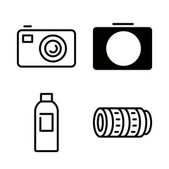 film icons set with photographic developer liquid, photo camera and telephoto lens vector set