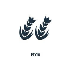 Rye icon. Black filled vector illustration. Rye symbol on white background.