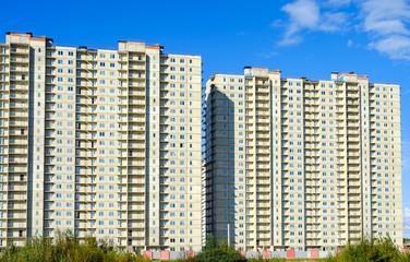 Facades of skyscrapers, close-up.