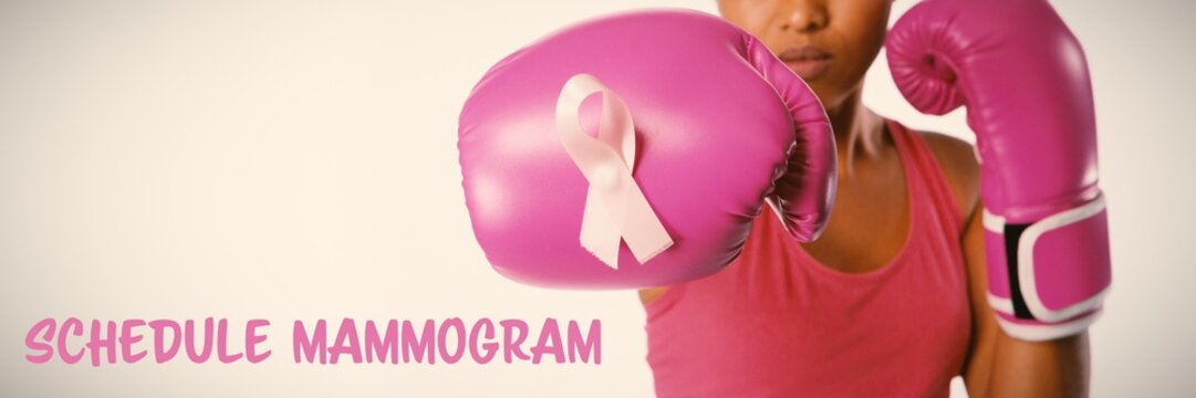 Composite image of schedule mammogram text with breast cancer