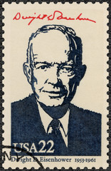 UNITED STATES OF AMERICA - 1986: shows Portrait of Dwight D. Eisenhower (1890-1969), 34rd President, series Presidents of USA