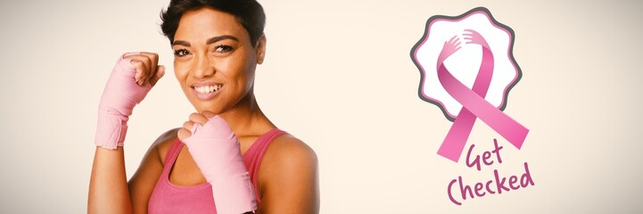 Composite image of breast cancer awareness ribbons with get