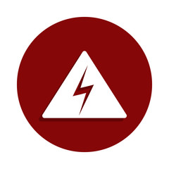 High voltage danger icon in badge style. One of Decline collection icon can be used for UI, UX