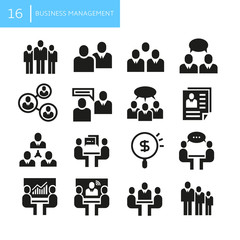 business management and office concept icons
