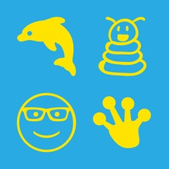 animals icons set with dolphin, frog paw shape and smiley with sunglasses vector set
