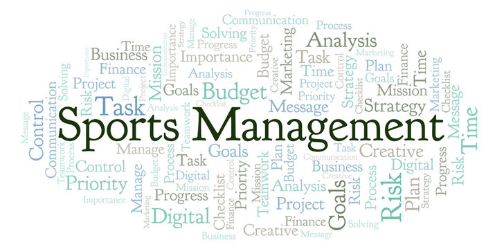 Sports Management word cloud, made with text only.