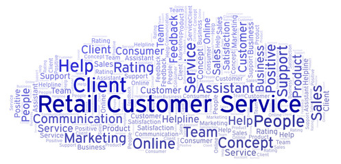 Retail Customer Service word cloud.