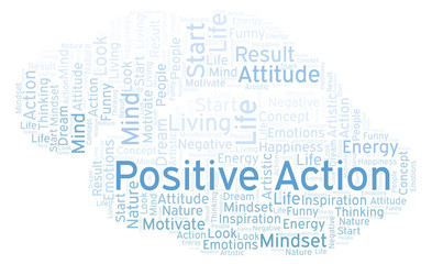 Positive Action word cloud, made with text only.