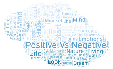 Positive Vs Negative word cloud, made with text only.
