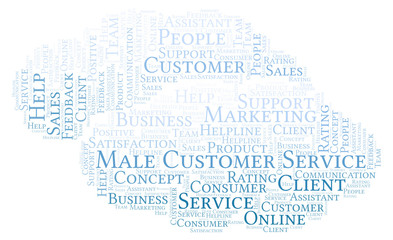 Male Customer Service word cloud.