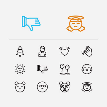 Emoji icons. Set of emoji sun, anime kawaii and text welcome vector sign symbols. Vector illustration of hello emoticons set for logo web mobile design.