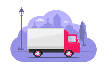 Cute little truck on city silhouette background. Pink lorry on purple monochrome background. Truck concept illustration for app or website. Modern transport. Flat style vector illustration.