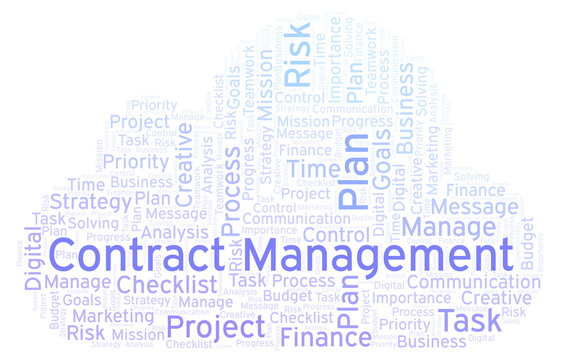 Contract Management word cloud, made with text only.
